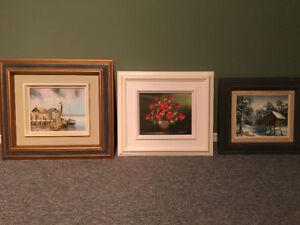 Peinture artiste peintre L Trottier 3 toiles