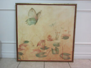 VINTAGE CANADIAN STILL LIFE BUTTERFLY/ FLOWERS OIL PAINTING