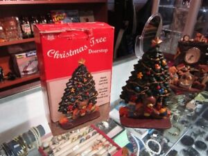 Cast Iron Christmas Tree Door Stopper In Box For Sale