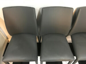 Structube Grey Leather Dining Chairs