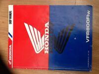 VFR800FiW Full Honda genuine workshop manual, great condition