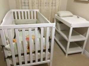 Babies crib and dressing table,complete with mattress and pad