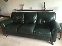 High quality green leather 3 seater sofa £195 ONO