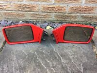 Vintage Ford Cortina MkV P100 Mk1 Door Mirrors Pair Colour Coded In Bright Red