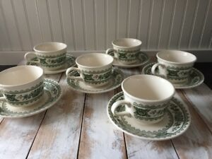 6 Green Coffee Cups, Royal China, Vintage Green Tea Cup Set