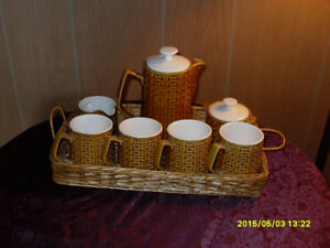 Vintage Coffee/Tea Service Set in a Wicker Basket