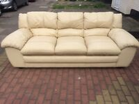 3 seater genuine leather sofa in good condition