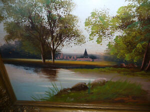 """Original Oil Painting """"Early Summer Path"""" Vintage Early 1900's Stratford Kitchener Area image 4"""