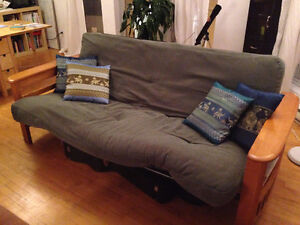 Green futon + loveseat (can be sold separately)