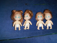"4 VINTAGE MINIATURE TYCO BABY DOLLS-1990-3""-COLLECTIBLE"