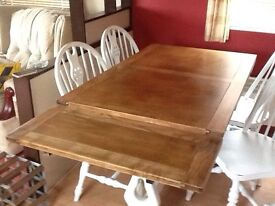 Antique pine heavy table & four chairs