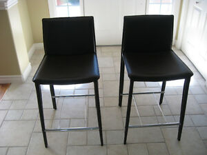 Beautiful leather counter stools, sold as pair