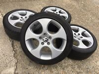 "GENUINE VW 17"" RONAL MONZA ALLOYS w/BRIDGESTONE TYRES - GOLF CADDY TOURAN SEAT SKODA - SLOUGH"