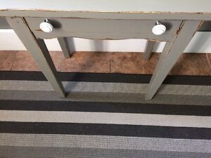 Grey distressed accent table with ceramic knobs and small drawer London Ontario image 6