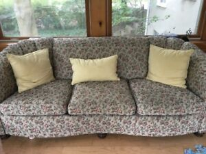 Antique upholstered couch and chair