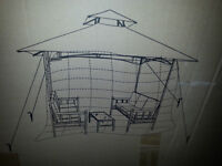 Gazebo w/ 2 benches and glass coffee table