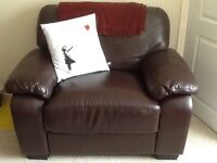 Large brown leather chair (snuggle chair)