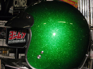 1970,s retro style 3/4 helmet green metal flake size med.