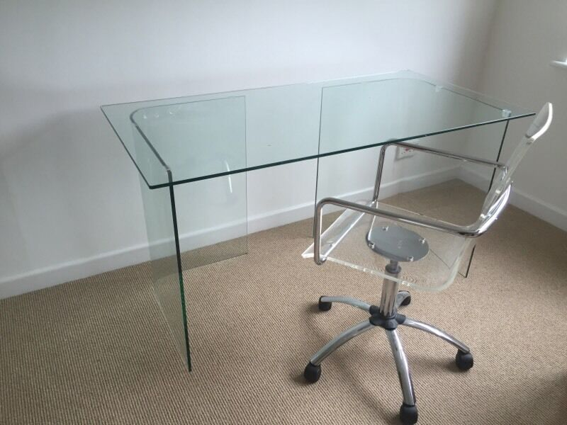 John Lewis Gl Desk And Clear Perspex Pneumatic Chair