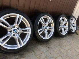 "Genuine BMW 3 Series 18"" 400 M Sport Alloy Wheels & Tyres F30 F31 F32 F33 E46 E90 91 92 Z4"