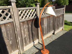 Mid century teak arc floor lamp