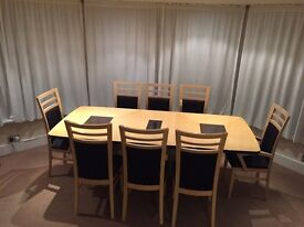Table & 8 chairs with side chest drawers & glass cabinet Italian