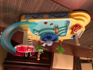 Playmobil toy pool with Whale Fountain and Waterslide
