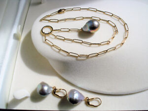 BEAUTIFUL! Tahitian Pearls Earring and Necklace set 14k, 20.6 gr