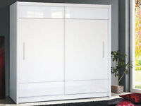 **7-DAY MONEY BACK GUARANTEE!**- Large High Gloss Panel Tetra Sliding Wardrobe - BRAND NEW!