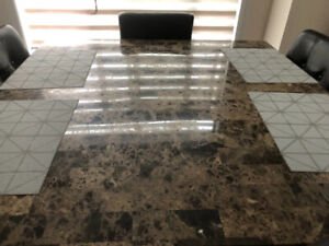 Beautiful granite square kitchen table with 6 chairs for sale