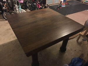 Antique 1930's Tiger Oak Square Dining table and 4 chairs-