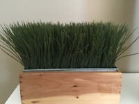 Faux wheat grass in galvanized metal & wood planter
