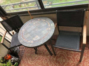 Stone mosaic patio table and two chairs