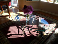 Glass top on decorative  Bronze oval coffee  table  $250