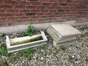 Concrete slabs and step
