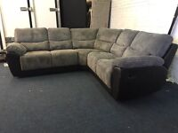 Littlewoods Sienna recliner grey cord fabric and black leather sofa