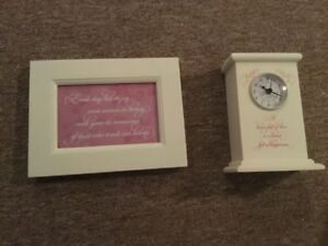 Carlton Cards clock and picture frame set
