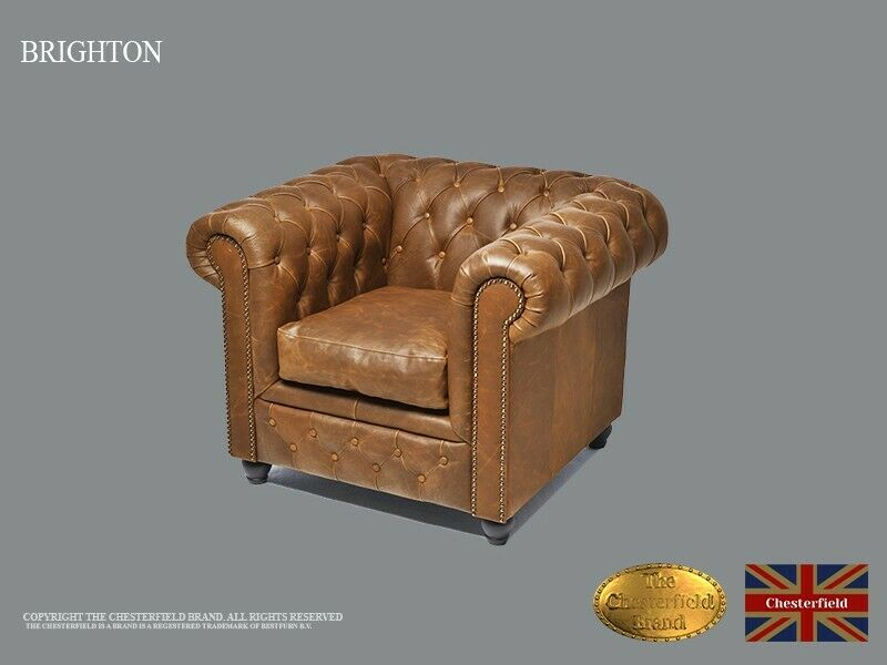 Chesterfield Armchair -The Chesterfield Brand Authentic -Vintage Mocha -Real leather- HANDMADE