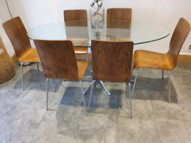 Dwell table and 6 mahony chairs with 3 bar stools