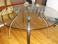 "42"" round glass top dinette table, large antique mahogany table"
