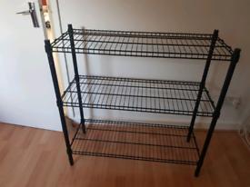 Metal shelf painted black (IKEA Omar)