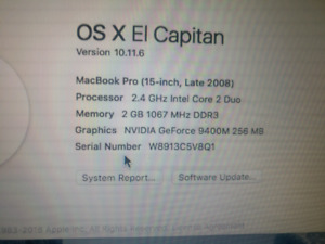 Late 2008 15 inch MacBook Pro