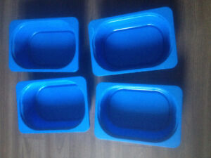 4 Small Blue Plastic Ikea Containers, Can Use With Ikea Trofast