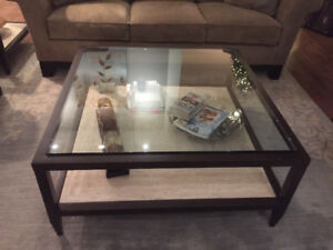 Glass and marble tables