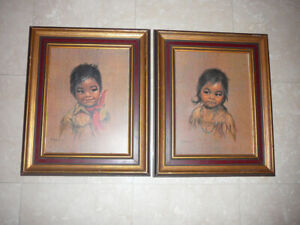 set of 2 framed prints of Inuit children by Dorothy Francis