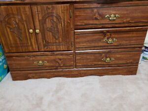 Antique Queen bed set with dressers etc
