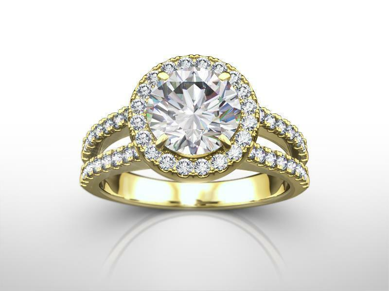 Ladies Diamond Halo Ring 4 Prong Solitaire W Accents 18 Kt Yellow Gold 2 Carats