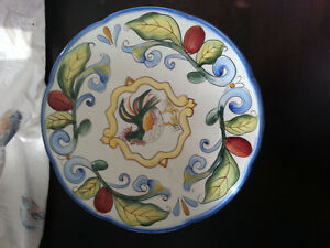 China Rooster Cake Pedestal or Chip Tray - Brand New