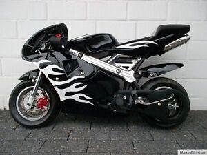 Pocketbike Rennbike Racingbike Kinder Motorrad 4010 schwarz weiße Flammen