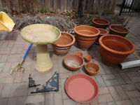 Terra Cotta and wire basket plant pots and other garden items